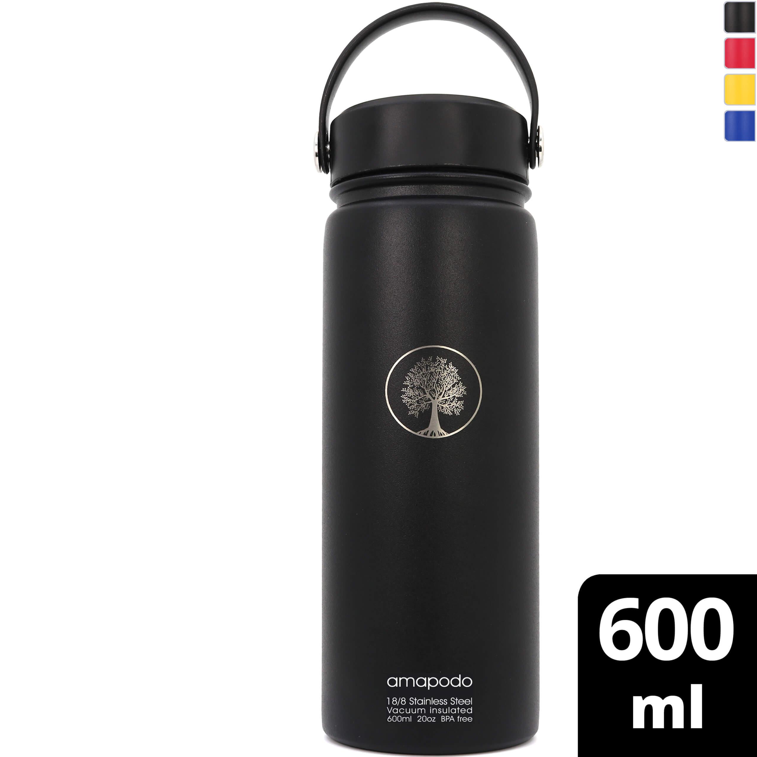 amapodo Edelstahl Trinkflasche Schwarz isoliert 600ml für Fahrrad Camping Fitness Kinder Outdoor Schule Sport