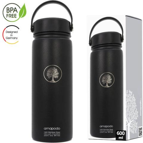 amapodo Edelstahl Trinkflasche isoliert 600ml Schwarz Verpackung
