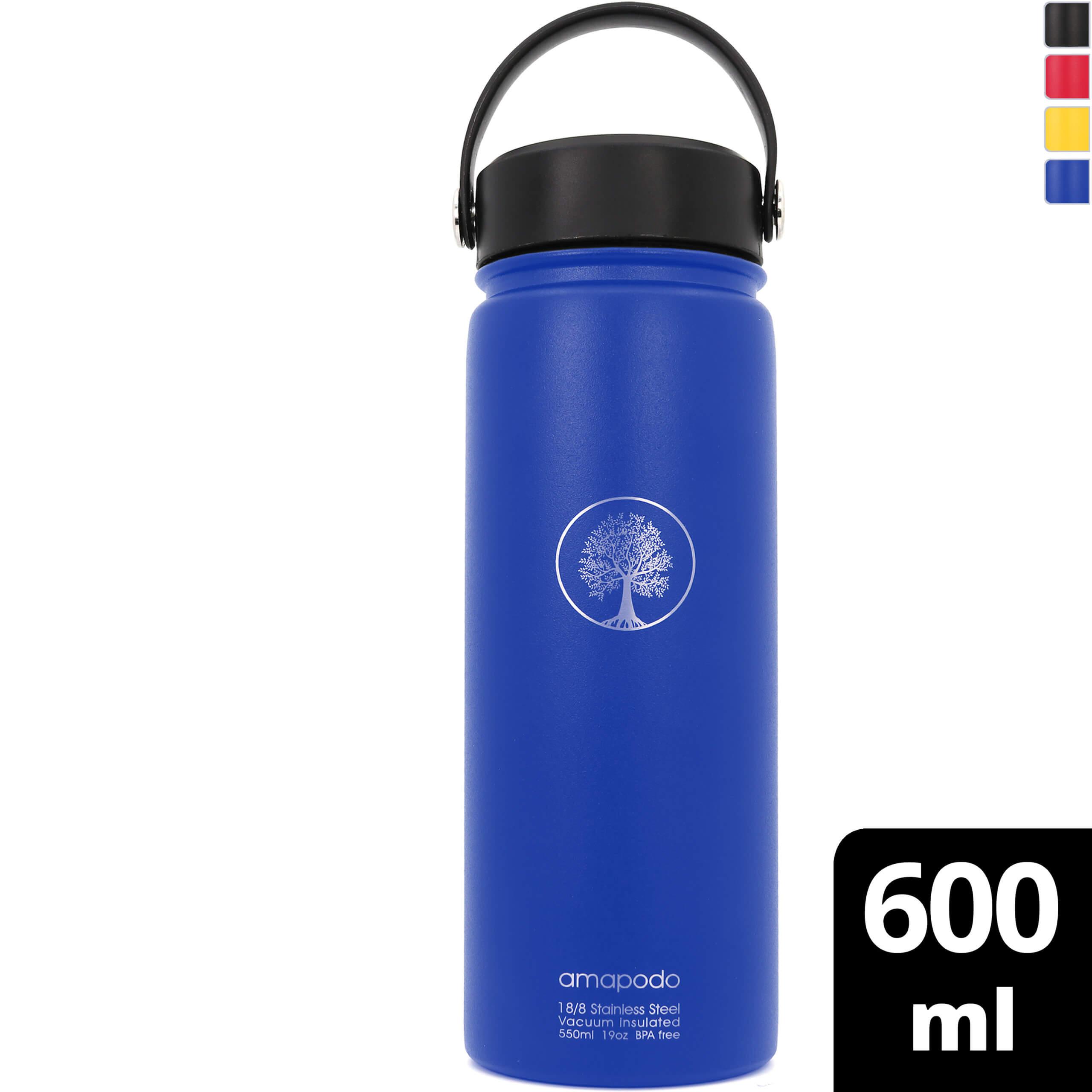 amapodo Edelstahl Wasserflasche Blau isoliert 600ml für Fahrrad Camping Fitness Kinder Outdoor Schule Sport