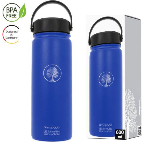 amapodo Edelstahl Wasserflasche isoliert 600ml Blau Verpackung