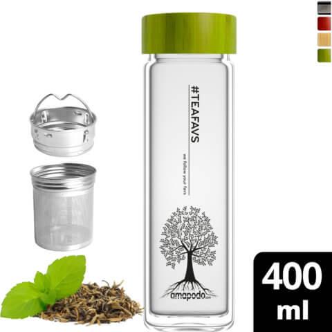 amapodo Teeflasche mit Sieb to go 400ml doppelwandig Bambus Deckel Grün vorn