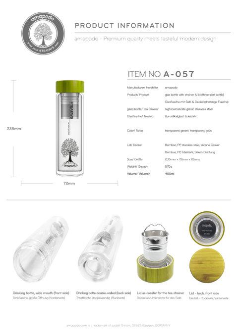 amapodo Teeflasche mit Sieb to go 400ml doppelwandig Bambus Deckel Grün Produkt-Datenblatt
