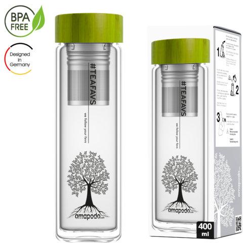 amapodo Teeflasche mit Sieb to go 400ml doppelwandig Bambus Deckel Grün Verpackung