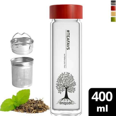 amapodo Teeflasche mit Sieb to go 400ml doppelwandig Bambus Deckel Rot vorn