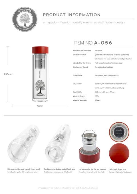 amapodo Teeflasche mit Sieb to go 400ml doppelwandig Bambus Deckel Rot Produkt-Datenblatt