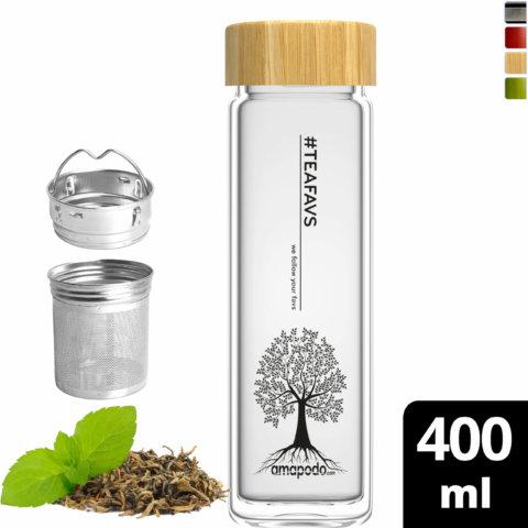 amapodo Teeflasche mit Sieb to go 400ml doppelwandig Bambus Deckel vorn