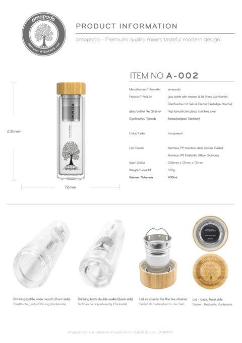 amapodo Teeflasche mit Sieb to go 400ml doppelwandig Bambus Deckel Produkt-Datenblatt