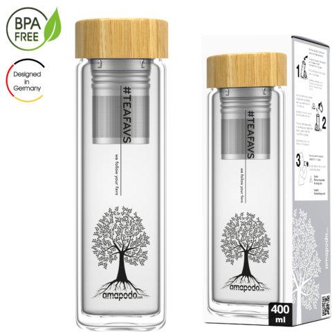 amapodo Teeflasche mit Sieb to go 400ml doppelwandig Bambus Deckel Verpackung