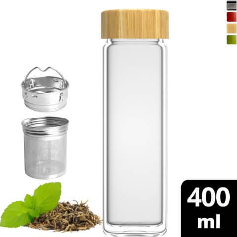 amapodo Teeflasche mit Sieb to go 400ml doppelwandig Deckel aus Bambus