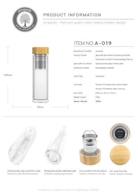 amapodo Teeflasche mit Sieb to go 400ml doppelwandig Deckel aus Bambus Produkt-Datenblatt