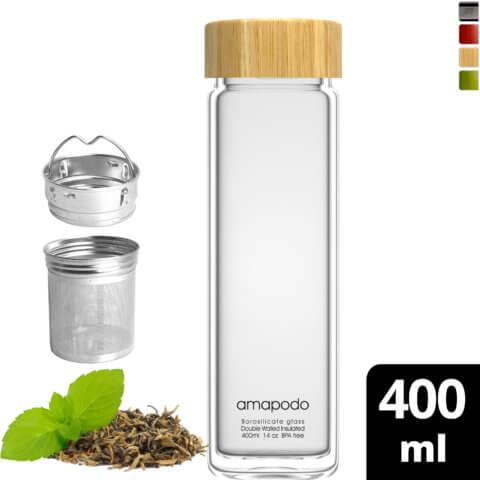 amapodo Teeflasche mit Sieb to go 400ml doppelwandig Deckel Bambus vorn