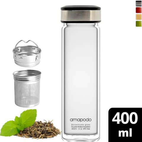 amapodo Teeflasche mit Sieb to go 400ml doppelwandig Deckel schwarz vorn