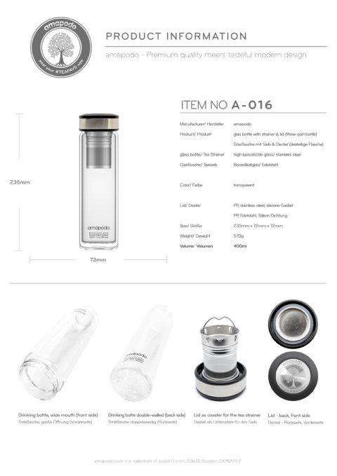 amapodo Teeflasche mit Sieb to go 400ml doppelwandig Deckel schwarz Produkt-Datenblatt