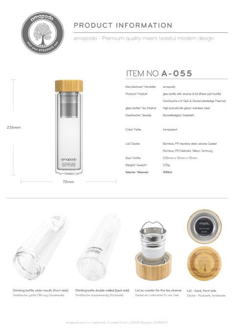 amapodo Teeflasche mit Sieb to go 400ml Produkt-Datenblatt