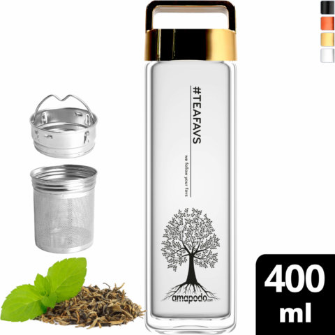 amapodo Teeflasche mit Sieb to go 400ml Henkel Deckel Gold vorn