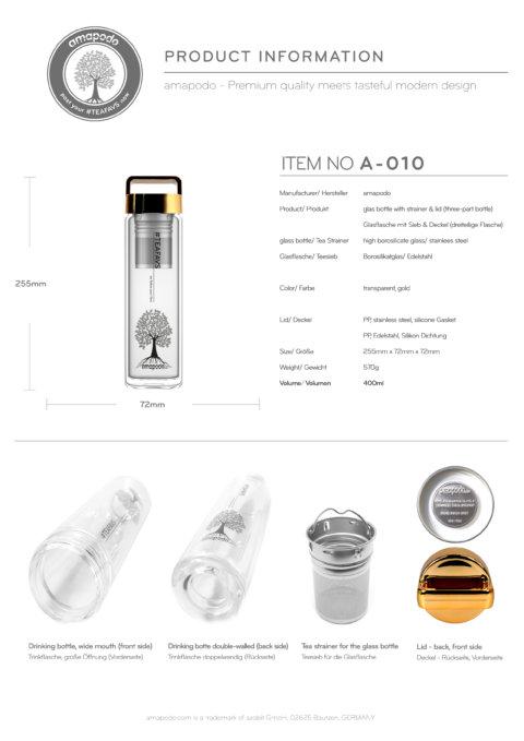 amapodo Teeflasche mit Sieb to go 400ml Henkel Deckel Gold Produkt-Datenblatt