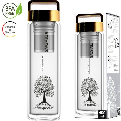 amapodo Teeflasche mit Sieb to go 400ml Henkel Deckel Gold Verpackung