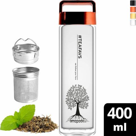 amapodo Teeflasche mit Sieb to go 400ml Henkel Deckel Rot vorn