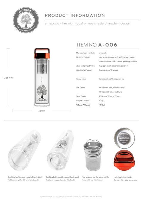 amapodo Teeflasche mit Sieb to go 400ml Henkel Deckel Rot Produkt-Datenblatt