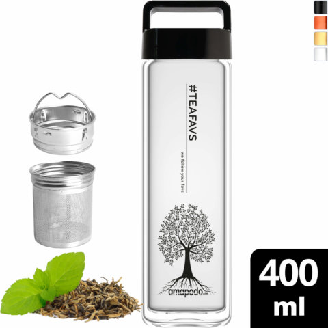 amapodo Teeflasche mit Sieb to go 400ml Henkel Deckel Schwarz vorn