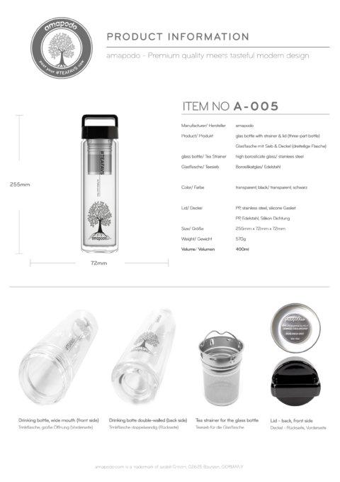 amapodo Teeflasche mit Sieb to go 400ml Henkel Deckel Schwarz Produkt-Datenblatt