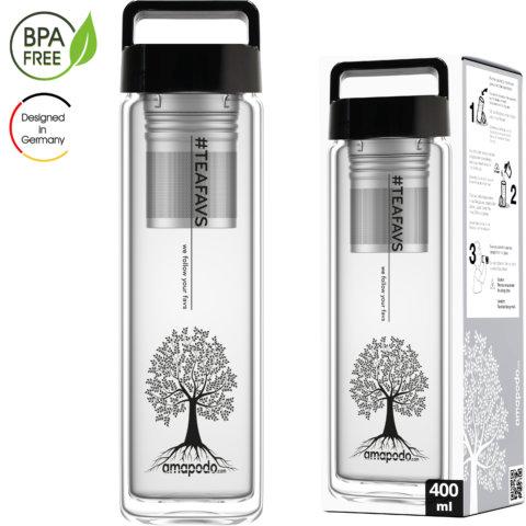 amapodo Teeflasche mit Sieb to go 400ml Henkel Deckel Schwarz Verpackung