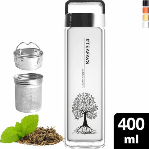 amapodo Teeflasche mit Sieb to go 400ml Henkel Deckel silber vorn