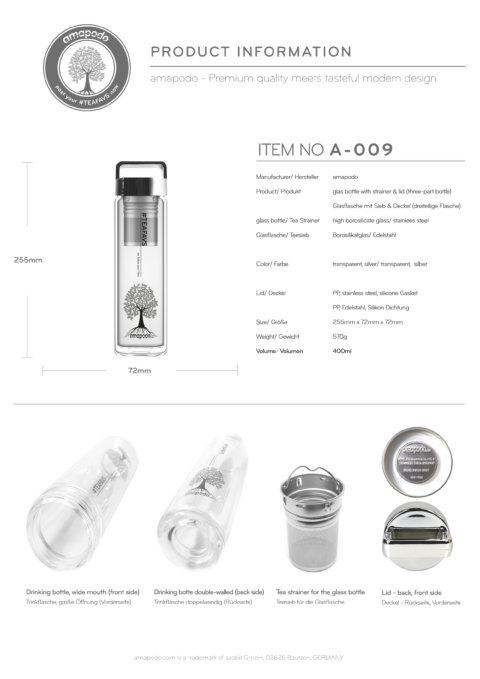 amapodo Teeflasche mit Sieb to go 400ml Henkel Deckel Silber Produkt-Datenblatt