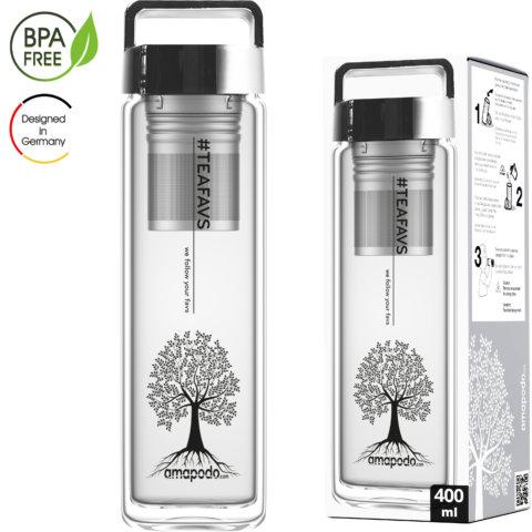 amapodo Teeflasche mit Sieb to go 400ml Henkel Deckel Silber Verpackung