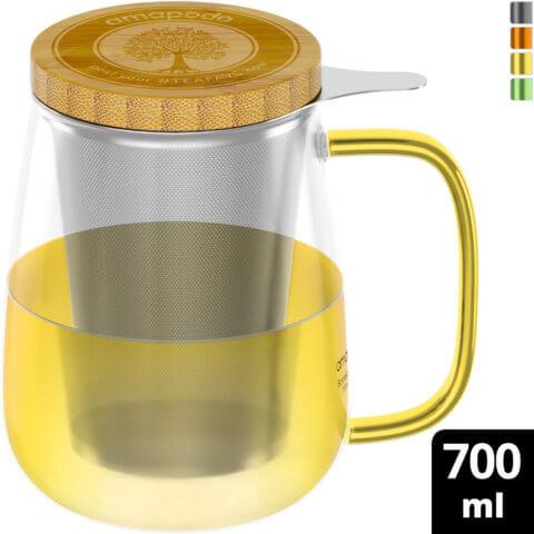 amapodo Teeglas mit Sieb und Deckel 700ml Henkel Gelb oben