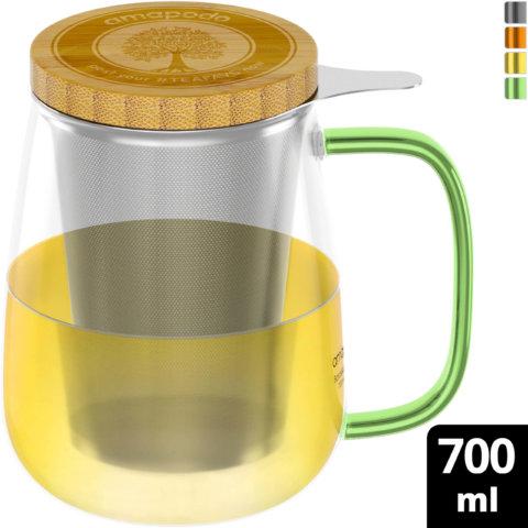 amapodo Teeglas mit Sieb und Deckel 700ml Henkel Grün oben