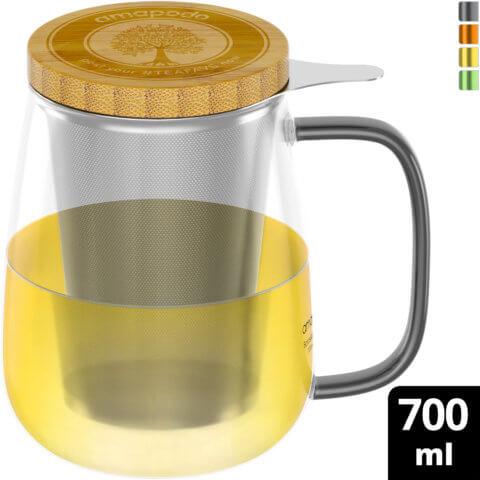 amapodo Teeglas mit Sieb und Deckel 700ml Henkel schwarz oben