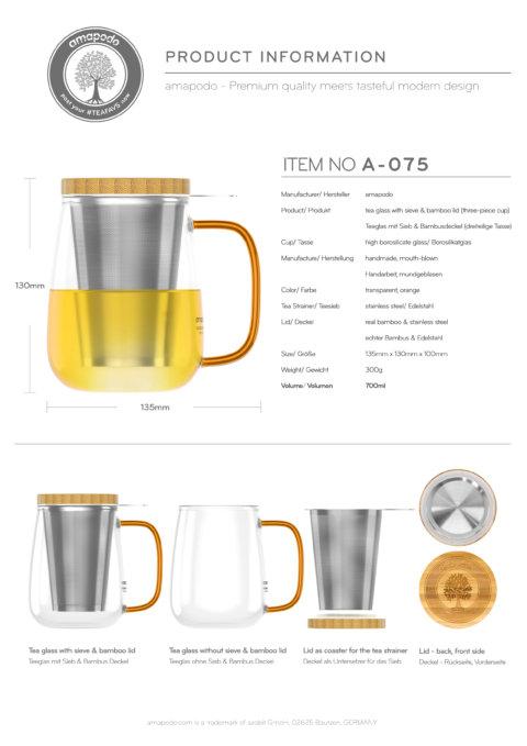 amapodo Teeglas mit Sieb und Deckel 700ml Henkel Orange Produkt-Datenblatt