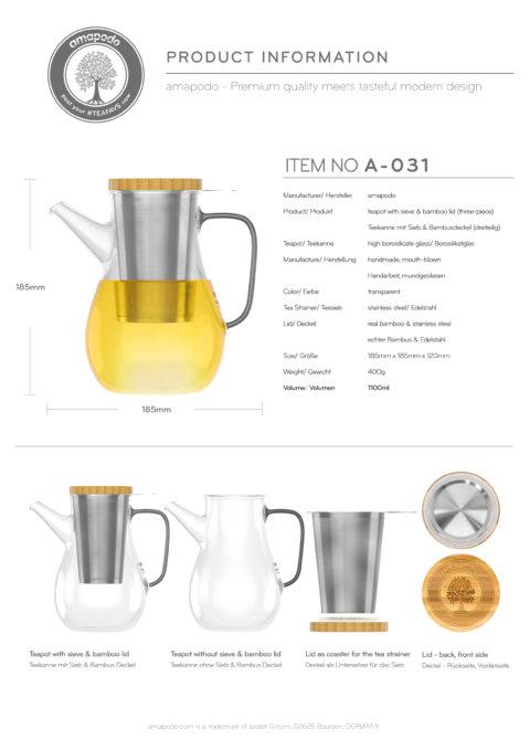 amapodo Teekanne mit Siebeinsatz 1100ml aus Glas hitzebeständig isoliert Produkt-Datenblatt