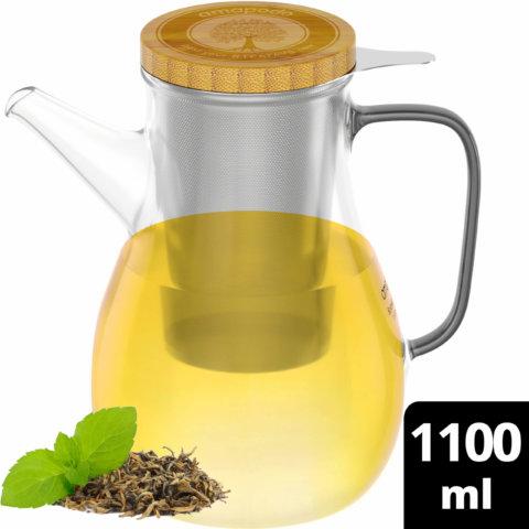 amapodo Teekanne mit Siebeinsatz 1100ml aus Glas hitzebeständig isoliert oben