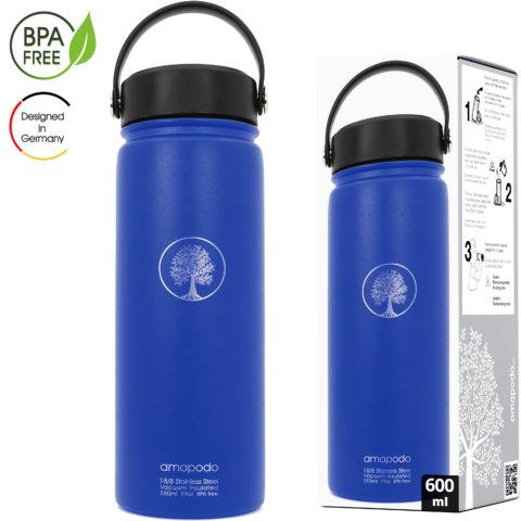 amapodo Trinkflasche mit Sieb 600ml isoliert Blau Verpackung