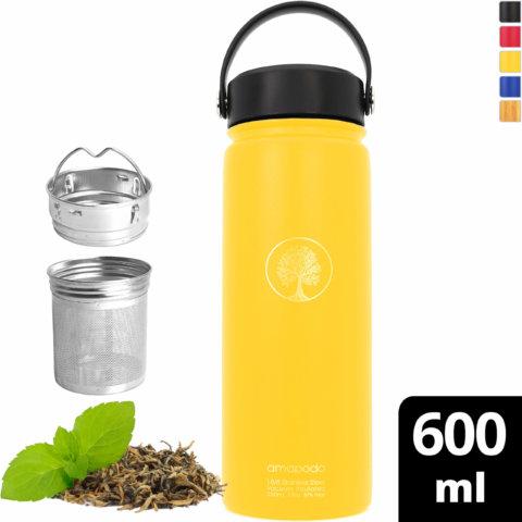 amapodo Trinkflasche Edelstahl 600ml isoliert mit Sieb Gelb vorn