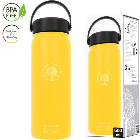 amapodo Trinkflasche mit Sieb 600ml isoliert Gelb Verpackung