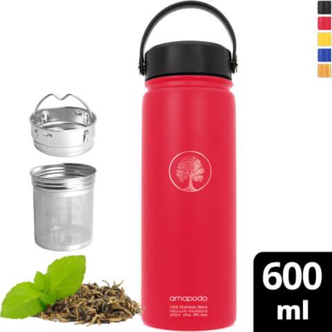 amapodo Trinkflasche Edelstahl 600ml isoliert mit Sieb Rot vorn