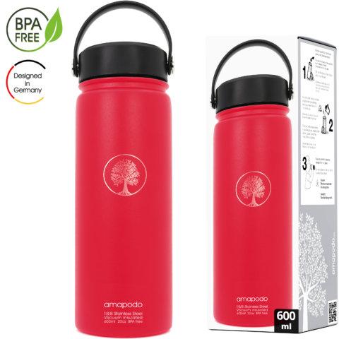 amapodo Trinkflasche mit Sieb 600ml isoliert Rot Verpackung