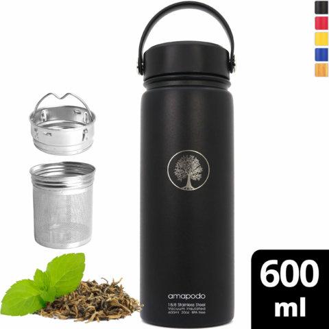 amapodo-Trinkflasche-Edelstahl-600ml-isoliert-mit-Sieb-schwarz