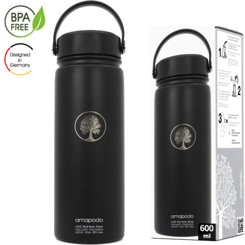 amapodo Trinkflasche mit Sieb 600ml isoliert Schwarz Verpackung