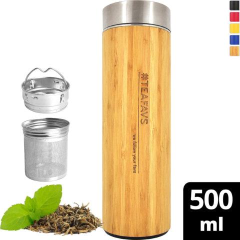 amapodo Trinkflasche Edelstahl Bambus 500ml isoliert mit Sieb vorn