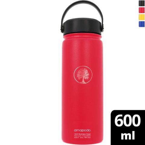 amapodo Trinkflasche Edelstahl Rot isoliert 600ml vorn