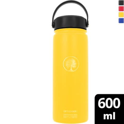 amapodo Wasserflasche Edelstahl Gelb isoliert 600ml vorn