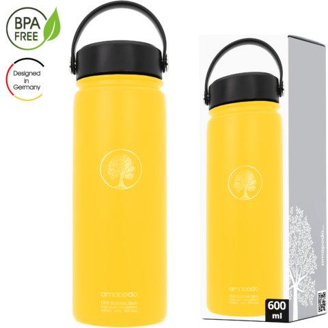 amapodo Wasserflasche Edelstahl isoliert 600ml Gelb Verpackung
