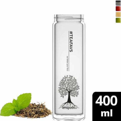 amapodo Glasflasche Ersatzglas einzeln 400ml design tea tree vorn