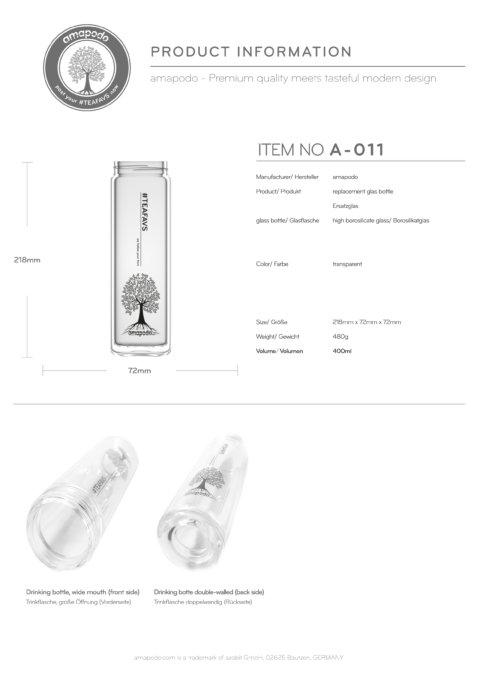 amapodo Glasflasche Ersatzglas einzeln 400ml design tea tree Produkt-Datenblatt