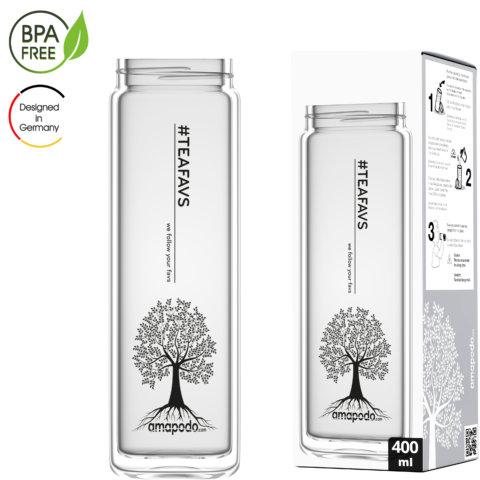 amapodo Glasflasche Ersatzglas einzeln 400ml design tea tree Verpackung