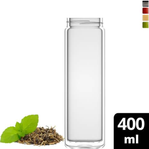 amapodo Teeflasche Ersatzglas einzeln 400ml clear design vorn